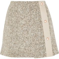 See by Chloé Wool-blend tweed mini skirt (5 010 ZAR) ❤ liked on Polyvore featuring skirts, mini skirts, bottoms, faldas, gonne, beige, short mini skirts, see by chloe skirt, short skirts and mini skirt