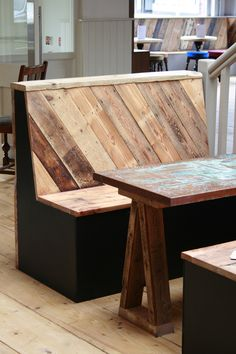Booth Seating Reclaimed Wood with Copper Tables.jpg