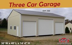 """Are you looking to fit all your vehicles in one garage?  Dimensions: 30' W x 40' L x 14' 4"""" H (ID#: 268) 30' Standard Trusses, 4' on Center, 4/12 Pitch  Openings: (2) 10' x 10' Residential Garage Doors (1) 14' x 12' Residential Garage Door  More Details! http://pioneerpolebuildings.com/portfolio/project/30-w-x-40-l-x-14-4-h-id-268-total-cost-20867  #ThreeCarGarage #Vehicles #Garage #Window #PPB #Pioneer #PioneerPoleBuildings #PoleBuildings"""