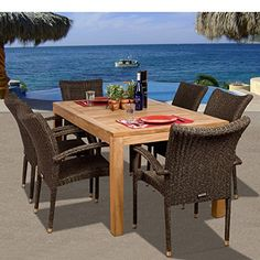 Patio Dining Sets - Patio Dining Furniture - The Home Depot Wicker Dining Set, Outdoor Dining Set, Outdoor Tables, Patio Dining, Dining Sets, Wicker Table, Fine Dining, Wicker Planter, Wicker Sofa