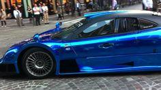 Insanely loud blue chrome Mercedes CLK-GTR in Tokyo (Turn volume MAX!!)