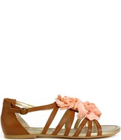 girly leather sandals with pink flowers