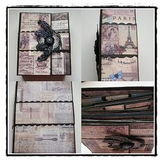 Various view of Madame Payrauds book style mini album #crafts #book album #vintage