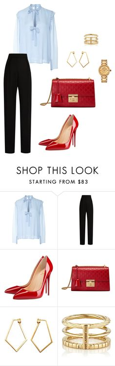 """Untitled #388"" by nadiralorencia on Polyvore featuring Giambattista Valli, Lanvin, Christian Louboutin, Gucci, Dutch Basics, Yves Saint Laurent and Versace"