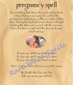 Fertility Pregnancy Baby Love Spell Wicca Book of Shadows Pagan Occult Ritual