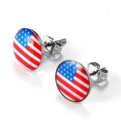 Ohrringe Flagge USA Amerika Rund 9mm Ohrstecker Liebe Freundschaft - 2 Stück