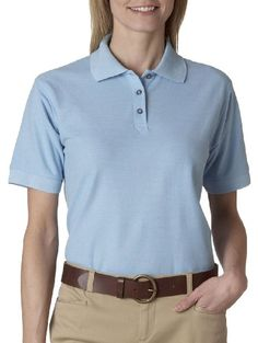 8541 UltraClub Ladies' Whisper Piqué Polo (Baby Blue) (XL) ** Read more  at the image link.