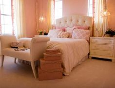 bedroom design peach, pink, gold and black | If you have more ideas for decorating your bedroom with pink, make ...