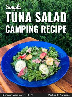 Quick tuna salad recipe to make while camping, on an RV road trip, or living in a campervan tiny hom Easy Tuna Salad, Camping Meals, Camping Recipes, Head Of Lettuce, Fresh Garlic, Salad Ingredients, Summer Salads, Recipe Using, Salad Recipes