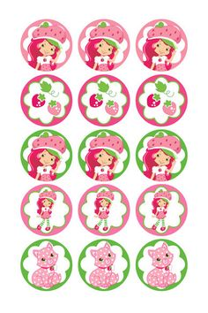 Strawberry Shortcake digital collage sheets 1 Inch Circles for Round Bottle Caps, Magnets, Hair Bow Centers, Stickers, and More. $2.00, via Etsy.