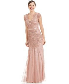 @Bonnie Woollett Bridesmaid dress; Adrianna Papell Cap-Sleeve Embellished Gown - Dresses - Women - Macy's