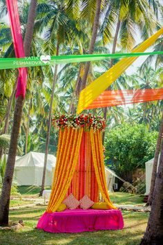 Looking for latest Outdoor Wedding Decorations? Check out the trending images of the best Indian Outdoor Wedding Decoration ideas. Tent Decorations, Engagement Decorations, Indian Wedding Decorations, Flower Decorations, Decor Wedding, Indian Decoration, Goa Wedding, Wedding Stage, Trendy Wedding