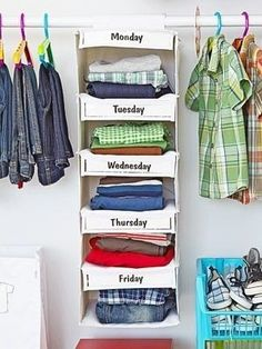 Organize your kid's — or heck, your own — clothes by days of the week! 53 Seriously Life-Changing Clothing Organization Tips Organisation Hacks, Closet Organization, Clothing Organization, Organize Clothing, Organizing Ideas, Organize Kids Clothes, Kids Clothing, Organising, Organizar Closet