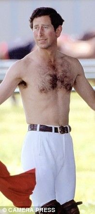 (His Royal Hairiness) Prince Charles shows off his fuzzy majesty. Royal Blood, I Want To Cry, Lady Diana Spencer, Hairy Chest, Prince Of Wales, Prince Charles, Hairy Men, People Like, A Good Man