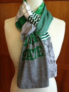 awesome I like the way this scarf is tied! UPCYCLED t-shirt scarf... Michigan State University... MSU... Spartans... green, gray & white. $22.00, via Etsy.