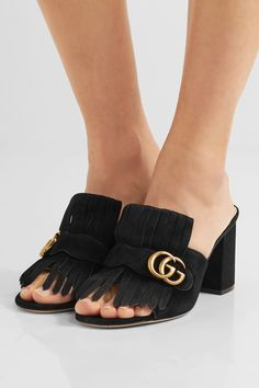 Gucci - Marmont Fringed Suede Mules - Black - IT34.5