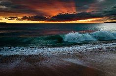 dreamy sky and ocean in the dark