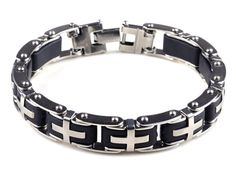 A great Father's Day Gift! Enhance your charisma and attract admiring looks with this sleek, handsome bracelet. The excellent craftsmanship and cool design of this contemporary bracelet adds a refined, cosmopolitan touch to your everyday style, while the simple yet striking black and silver tones ensure that the bracelet matches your outfits with effortless elegance.    Metal: Stainless steel  Chain: Link  Finish: High polish  Clasp: Hidden           Hassle-free 14 Day Return Policy…
