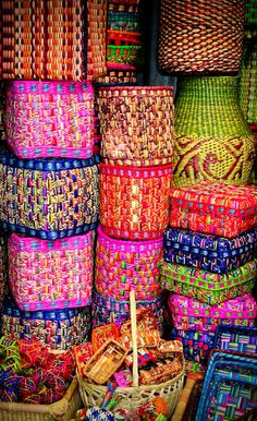 Colorful baskets at a market in Lima, Peru.