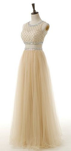 Two Piece Sequined Bodice Prom Dresses 2017 Long