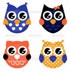 Cute halloween owls collection isolated on white