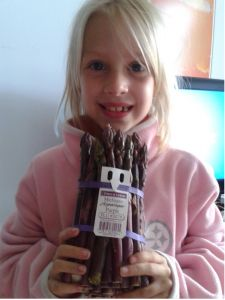 """""""My daughter Maura is in the first grade at Jahn World Language School in Chicago. She loved your program this year. She was tickled to see Joshua at Whole Foods on a weekend visit. The entire year she looked forward to Purple Asparagus visits. Maura is a super healthy eater with a curiosity to try anything new. We wanted to share this picture which capped the year off and made her feel a little better about the program ending."""" Parent from the 2012-2013 school year.  #Food #Education"""