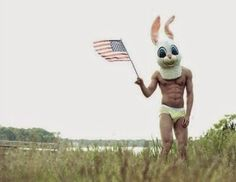 Easter Funny Picture Man Holding USA Flag....