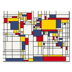 Trademark Fine Art Mondrian World Map by Michael Tompsett Canvas Wall Art, 30x47-Inch by Trademark Fine Art