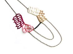 Geometric Necklace Leather Cut Color Block by BooandBooFactory, $45.00