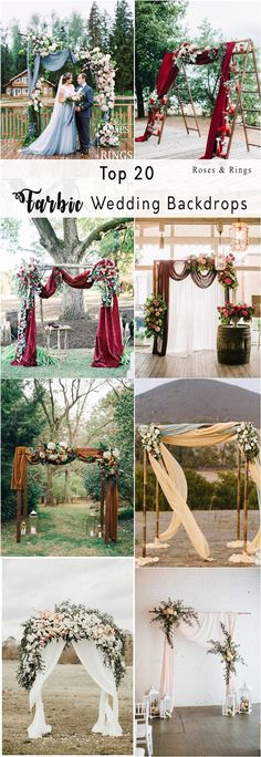 draping and floral wedding arch with fabric