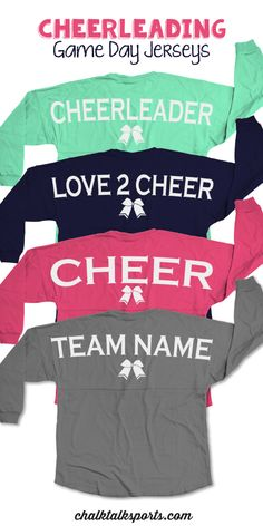 Our popular classic long sleeve crew neck Game Day jersey. This over-sized fit is guaranteed to be super comfy and great for competitions or any day! Perfect gift for your favorite cheerleader! Only from ChalkTalkSPORTS.com!