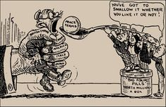 This political cartoon describes the Treaty of Versailles. This cartoon shows allied countries forcing Germany to eat, just like the Treaty made them sign for peace. It was difficult to get Germany to sign the Treaty of Versailles. World History Facts, Ancient World History, History Posters, World History Lessons, History Memes, Us History, History Timeline, History Projects, History Photos