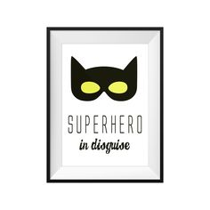 Superhero In Disguise Print by the phenomenal Toucan!  This on trend, monochrome print is guaranteed to be a hit with your little superhero!  A stylish and gorgeous addition to any chid's room or play room!  #toucan #batman #superhero #designerbaby #designerkids #designerboy #designergirl #nursery #kidsrooms #playroom #kidsprints #kidsart #toucan #babyshower #babygift #babyshoponline #littlebooteek