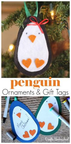 This Christmas penguin project with free template is cute, (so) easy AND can double as either felt DIY ornaments OR paper gift tags. Cool, right?
