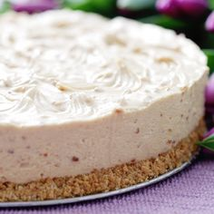 This yogurt cheesecake can be made with or without a crust.  We give you the recipe for a nut crust that is just the perfect flavor with this cheesecake.