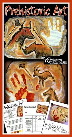 Project: Prehistoric art Create art the way prehistoric man did! Follow these 7 steps to create a magnificent cave painting piece of art. Have fun creating! Art Pariétal, Prehistoric Age, Stone Age Art, 3rd Grade Art, Ecole Art, High School Art, Art Lesson Plans, Art Classroom, Art Plastique