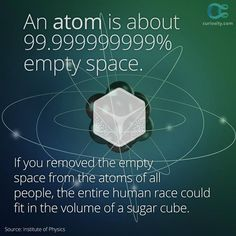 The entire human race could fit in the volume of an ice cube! Astonishing SCIENCE FACT about all the empty space in every item that does make us think about the LOGIC possible explanation being Creation's Intelligent Design by an almighty God. Science Facts, Fun Facts, Physics Facts, Forensic Science, Life Science, Institute Of Physics, Space Facts, E Mc2, Quantum Mechanics