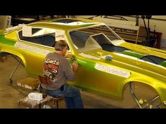 Time Lapse of Hand Lettering Pinstriping Gold Leaf Airbrush Vega Funny Car Nostalgia Drag Racing