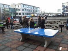 Pingpongtafel Afgerond Blauw bij Hogeschool Tio in Amsterdam