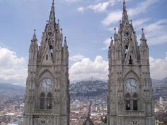 Quito, Ecuador, I climbed up to the top when I was there...really sketchy Metal ladders.