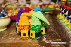 Dwarf candy favors at a Snow White birthday party! See more party ideas at CatchMyParty.com!