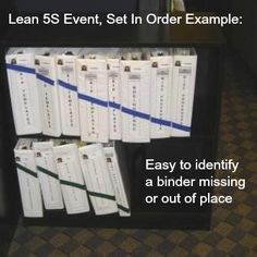 "Lean 5S Visual Management Example of the Second ""S"", Set in Order where everything has a place and everything in its place. This is from a Blog by Kevin Clay of Six Sigma Development Solutions."