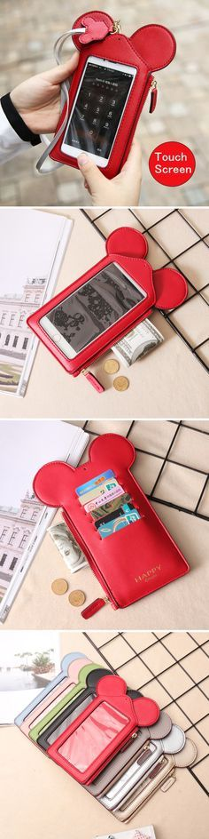 Touch Screen Cute Animal Card Holder&Phone Bag (4.7/5.5inch):Wallet/Purse/Neck Bag #fashion #style #love