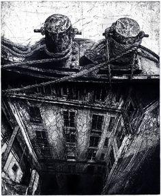 """Saatchi Art Artist: Michael Goro; Etching 2012 Printmaking """"La Seine"""""""