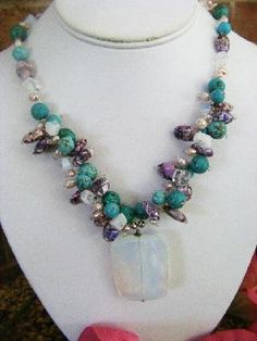 Handcrafted Purple African Mosaic Turquoise,  Opalite Necklace