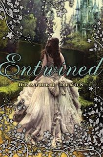 Entwined by Heather Dixon  Entwined  by Heather Dixon    Genre : Young Adult | Historic | Romance | Fairy Tale    Review on behalf of Dark Fairy Tales    Confined to their dreary castle while mourning their mother's death, Princess Azalea Kathryn Wentworth and her eleven younger sisters dance in a mysterious silver forest every night, escaping from the sadness of the palace and their father's grief.