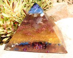 Manifestation Orgone Pyramid Blue Apatite by VioletFlameOrgoneLA, $144.00