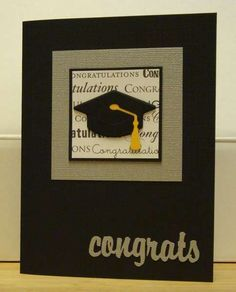 hand crafted grad card ... black and gold ... formal look ... mortar board with tassel ...