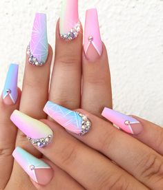 48 Acrylic Nail Designs Of Glamorous Ladies Of The Summer Season Acrylic Nail 10 Bright Summer Acrylic Nails, Pink Acrylic Nails, Pastel Nails, Sky Nails, Dope Nails, Stylish Nails, Trendy Nails, Cute Acrylic Nail Designs, Bright Nail Designs