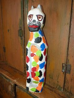 John Lynch Wood Sculpture OOAK Calico Cat Primitive by ArtVineyard